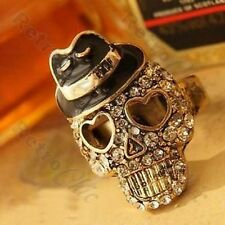 CRYSTAL SKULL black hat BIKER RING vintage brass RETRO rhinestone GOTH,PUNK,ROCK