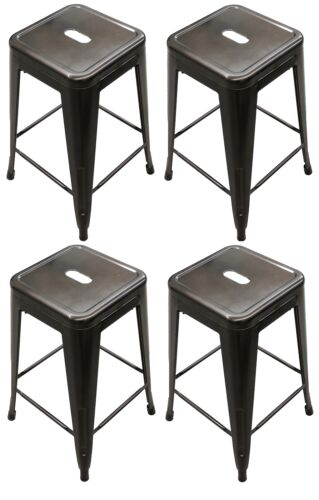 Titan Outdoors Set of 4 Modern Steel Stamped Stacking Bar Stools