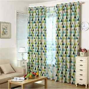 Image Is Loading 2 X Blockout Curtains Triangle Blackout Jungle Green