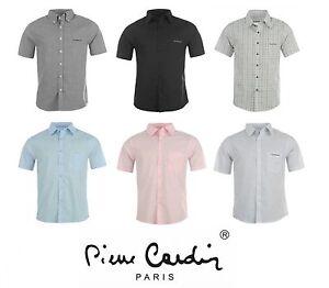 Mens-Pierre-Cardin-Shirt-Short-Sleeves-Plain-Striped-Check-S-M-L-XL-2XL-3XL-4XL