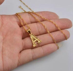 Iniziali-lettere-dell-039-alfabeto-Ciondolo-Collana-Catena-Oro-Placcato-18k-Jewellery-UK