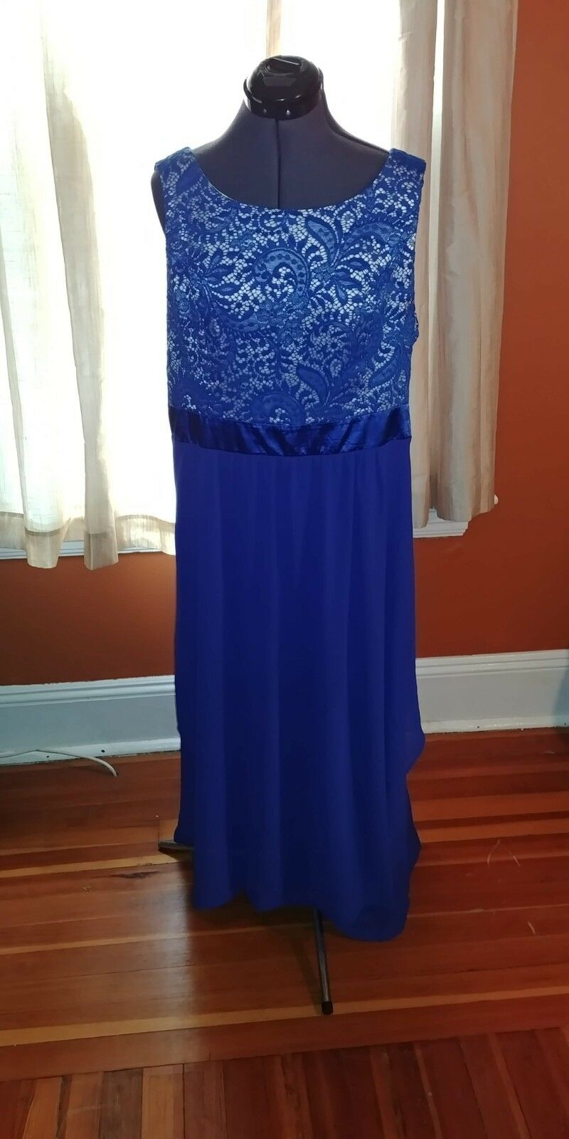 Woherren Royal Blau Empire Waist Dress Full Length