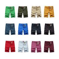Fashion Summer Men's Slim Fit Casual Cotton Shorts Solid Beach Shorts Pants