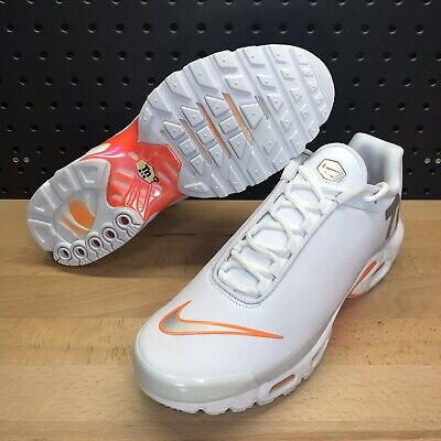 Nike Air Max Plus TN SE Big Logo White Silver Orange AQ1088 100 Men's Size 10 | eBay