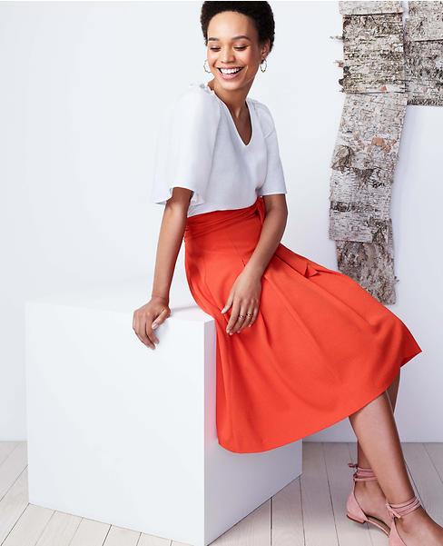 Ann Taylor - Petite 10P Rich Mango Belted Full Skirt  98.00 (621) NWT