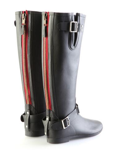 Femme Noir pipduck Designer Wellie Bottes Avec Rouge Zip-RRP £ 110 Maintenant £ 30