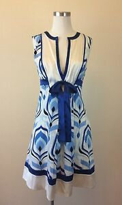 BEBE-Women-039-s-Silk-Lining-Blue-White-Deep-V-Neck-Sleeveless-Size-SMALL