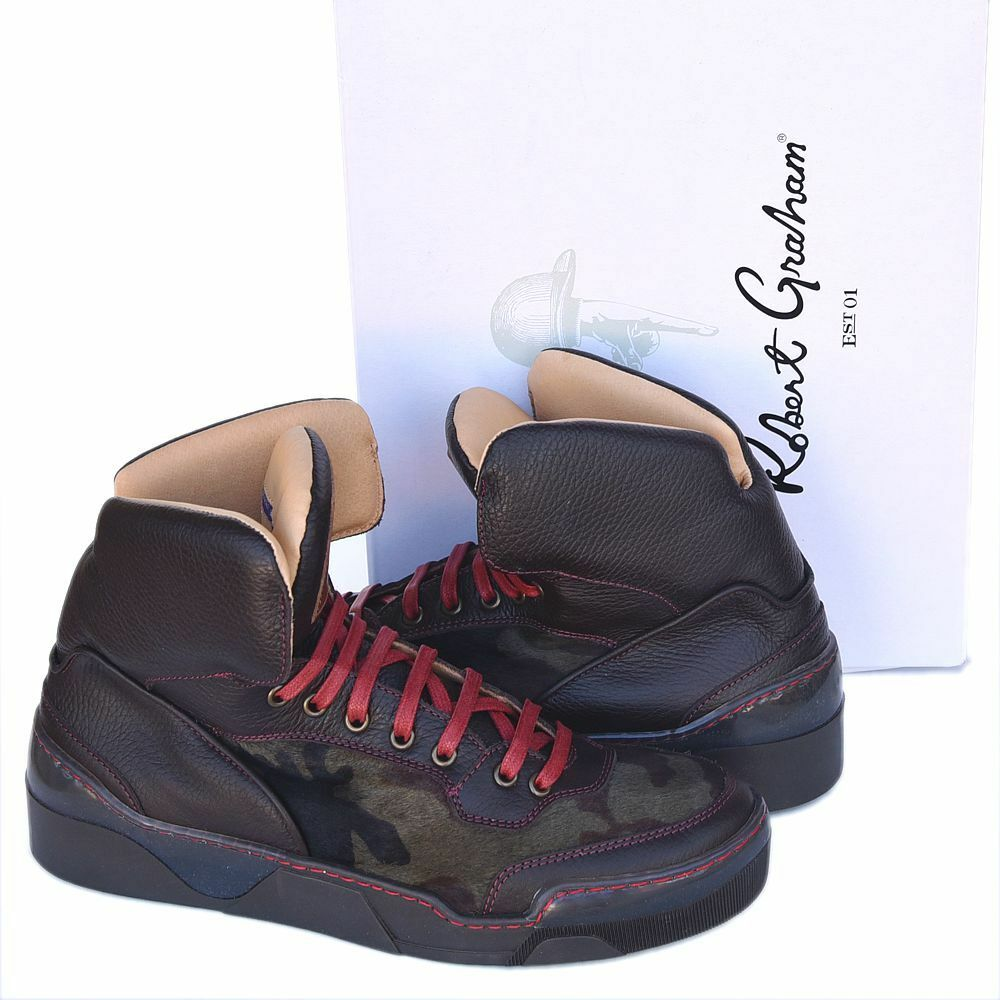 Robert Graham New sz 9.5 Authentic High Top Designer Mens Sneakers Shoes brown