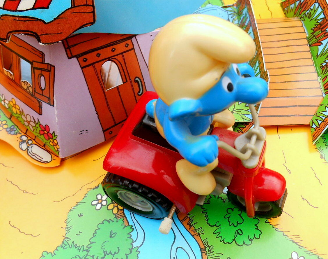 Schtroumpf Schtroumpf Schtroumpf MOTO 3 rouesFRICTION smurf pitufo puffo schtroumpfette GALOOB H.K 82 899761