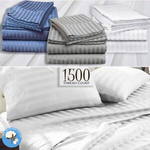 1500TC-Egyptian-Cotton-Stripe-Sheet-Set-Doona-Duvet-Quilt-Cover-Hotel-All-Size