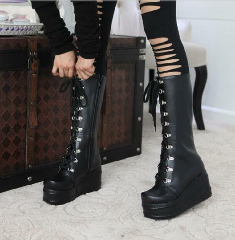 Ladies Lolita Lace Up Knee High Boots Platform Goth Riding Boots Winter shoes SZ