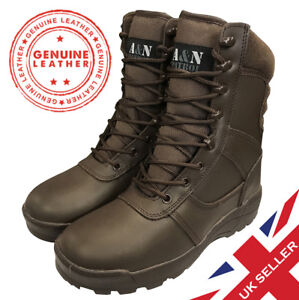 BROWN-ALL-LEATHER-Cadet-ATC-Army-Patrol-Combat-Boots-Airsoft-Tactical-Military
