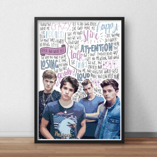 Boy Band Poster A4 A3 Singer Lyrics The Vamps INSPIRED WALL ART Print