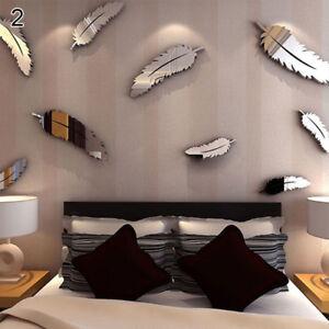 Lc Eg 8 Pièces Set Plume Miroir Acrylique Autocollant Mural
