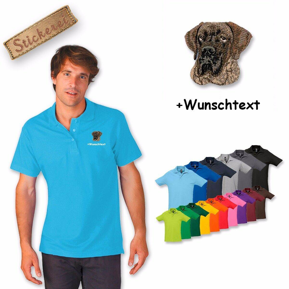 Camiseta Polo Algodón Bordado Deutsche Gran Danés 1 + Texto Personalizado