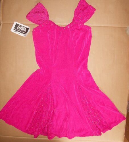 NWT Ladies Slinky Glittered Panel A Line Dress Rhinestone Rasberry Pink Medium A