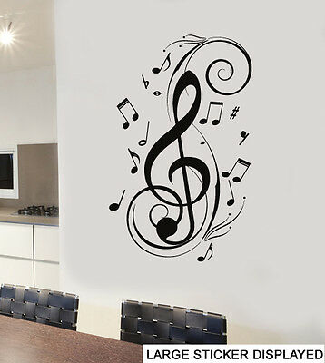 Abstract Treble Clef Wall Art Vinyl Stickers Music Notes Transfers Mural Decals