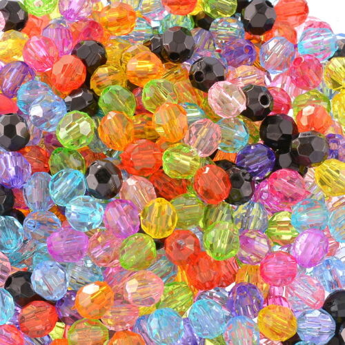 0PCS Wholesale Lots Acrylic Round Faceted Beads Spacer  6mmx6mm Mixed Ball