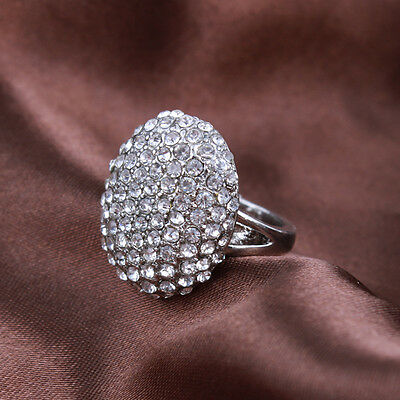 Pop Women's Wedding Rings  Engagement Ring Silver Crystal Jewelry Size 6-10