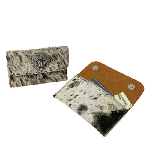 Raviani Flat Wallet In Salt /& Pepper Hair On Cowhide Leather W//Indian Chief