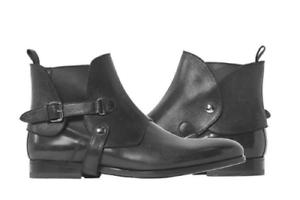 Zapatos De Vestir botas para hombre hecho a mano Negro Cuero Biker Chelsea Ropa Formal Casual