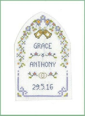 Lifetime Samplers /& Decorative Textiles Rose 40th Anniversary card Ruby Wedding complete cross stitch kit on 16 aida with clear COLOUR chart