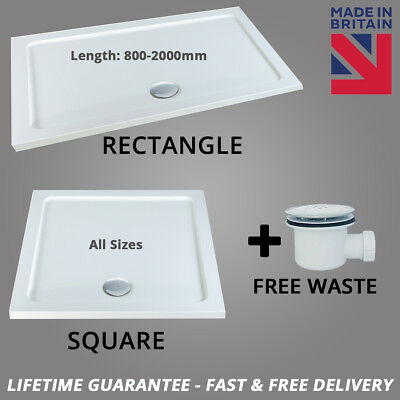 MX White Stone Resin Rectangle Low Profile Slimline 40mm Shower Tray Free Waste