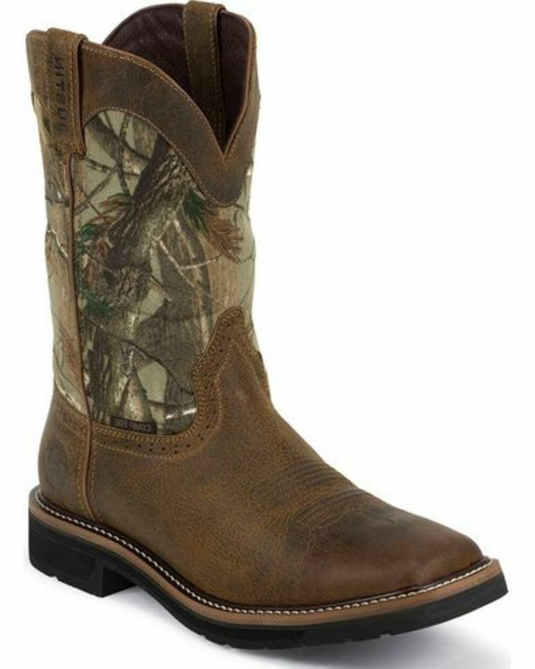 Justin  Waterproof Camo Pull-On Work Boots Composite Safety Toe WK4677 MANY SIZES  factory outlet