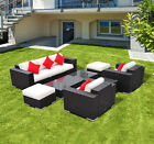 7pc Outdoor Rattan Wicker Sofa Couch Patio Garden Furniture Set Cushioned Lawn