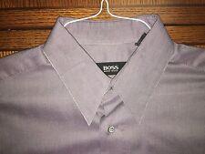 HUGO BOSS PLUM STRIPED 100% COTTON DRESS SHIRT MINT CONDITION SIZE 16-34/35