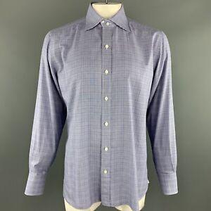 TOM-FORD-Size-XL-Navy-Glenplaid-Cotton-Button-Up-Long-Sleeve-Shirt