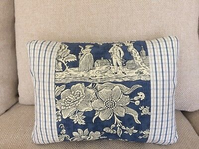 Gorgeous Pierre Deux Pillow Blue Pont Aven Plaid Check French Country Toile