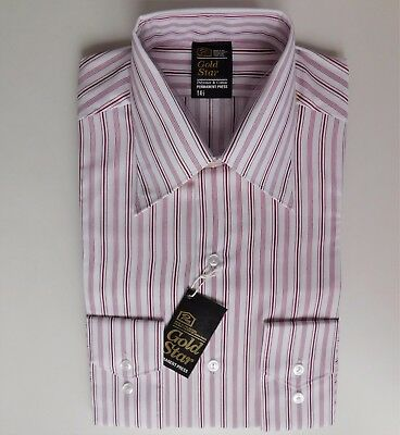 Vintage Prova striped shirt UNUSED spearpoint collar 14.5 mens 1960s 1970s