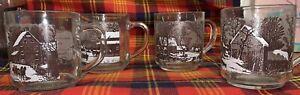 Vintage-Currier-amp-Ives-Winter-Scene-Mugs-Clear-Glass-Set-Of-4