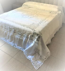 bedspread-linen-with-lace-handmade-embroidery-lacework-perforated-embroidery