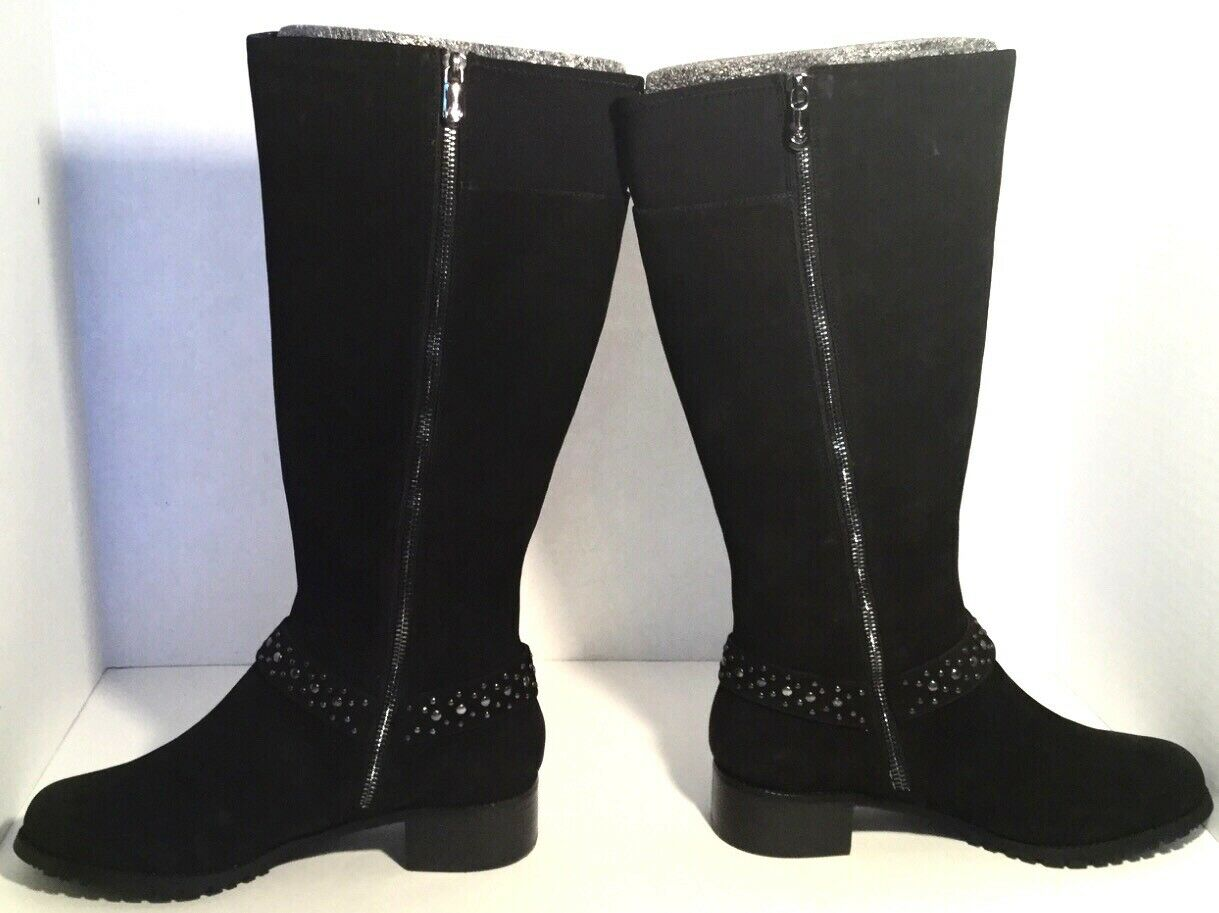 Adrienne Vittadini Trooper Black Black Black Suede Studded Harness Boot Size 7.5 New In Box 87e258