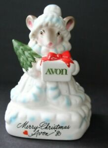 Vintage-Avon-Precious-Moments-Collection-Figurine-Mouse-Merry-Christmas-1980