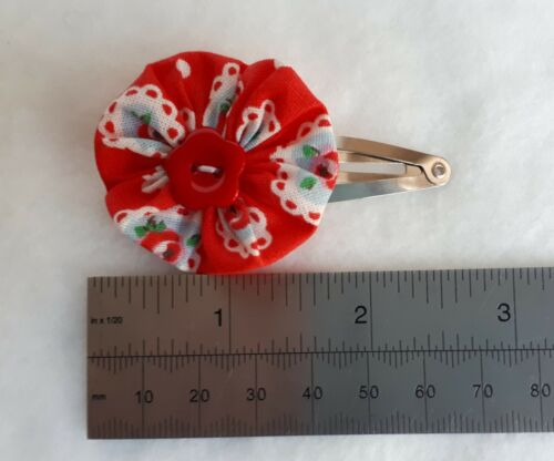 SET OF 4 x Hair Snap Clip Slides RUBY RED gingham school colours