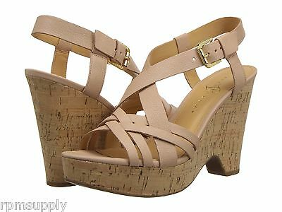 Ivanka Trump, Handy Wedge Sandal, Pale Pink Leather, Size 10