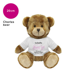 Personalised Gift Gifts for Flower Girl Wedding Favour Charles Teddy Bear