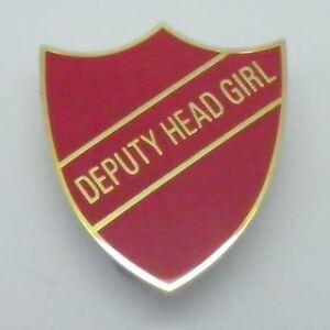 Deputy Head Boy Enamel School Shield Badge White