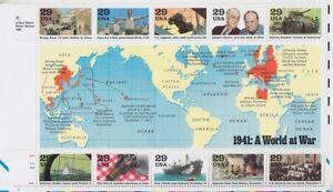 Ee.uu. Bloque 24 , 1941 A World At War Historia History, Perfecto Estado, MNH