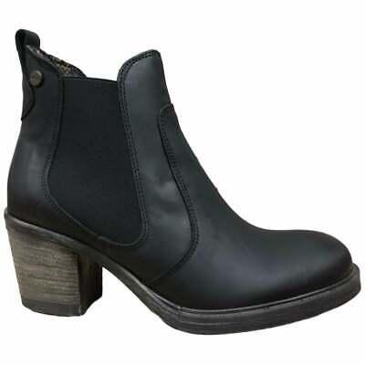 Oak /& Hyde Bridge Womens Black Leather /& Textile Chelsea Boots