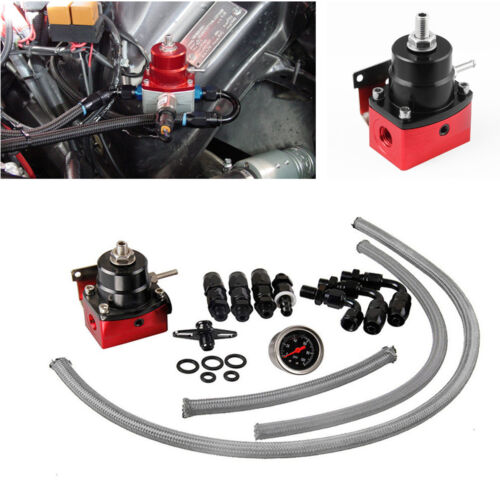 Auto Car Adjustable Fuel Pressure Regulator Kit Oil-filled Gauge AN6 Aluminum