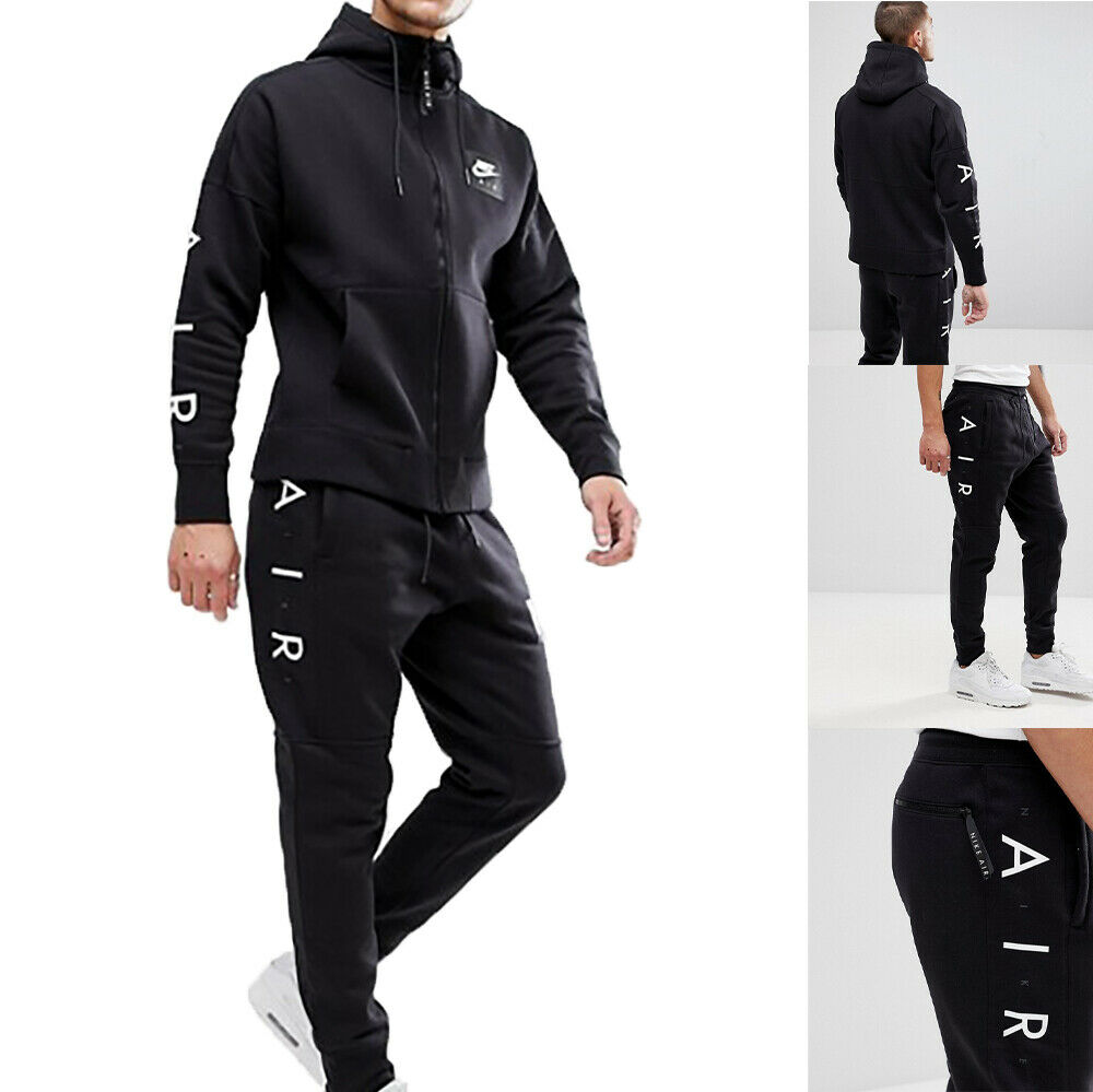Nike Air Tracksuit Set Full Zip Cotton Fleece Hoodie Joggers Bottoms Slim Fit