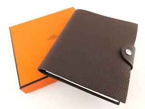 b3ca103f3d5 Image is loading Authentic-HERMES-Brown-Leather-Agenda-Note-Cover-with-
