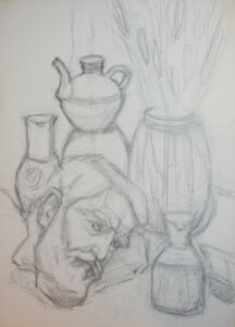 Vintage-pencil-painting-still-life-with-vessels-and-sculpture