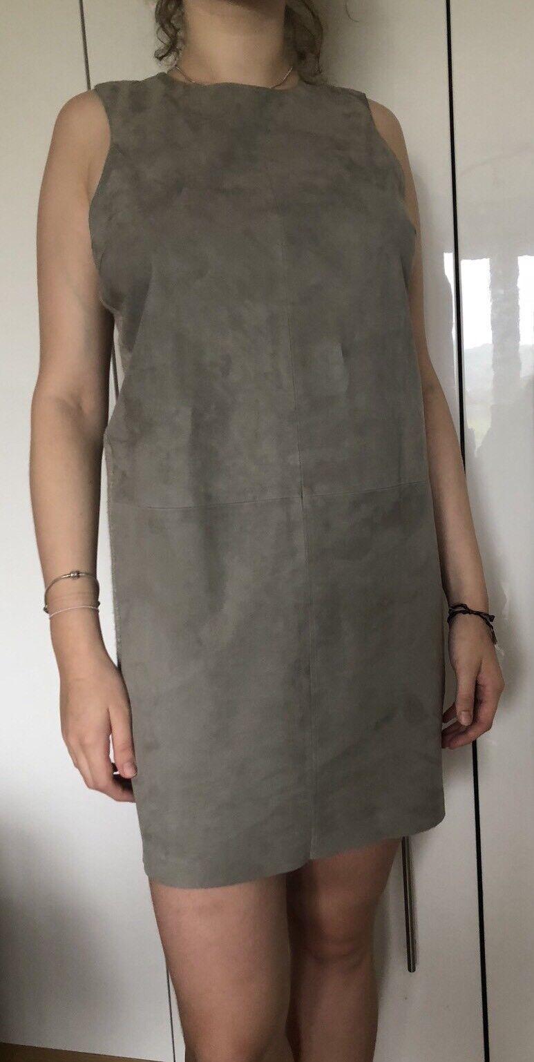 Ralph Lauren Leather & Cashmere Grey Dress Size 8 New RRP