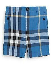 BURBERRY BOYS MINI SCOUT CHECK PRINT SHORTS CORNFLOWER BLUE SZ 9 MONTHS NWT $120