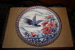 Japanese Asian Cabinet Plate Colorful Flowers Bird Large Size Detailed